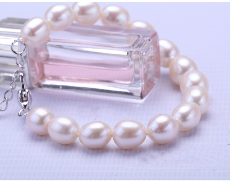 Fashion Jewelry Bracelet and Necklace Pearl Set 7-8mm Drop Natural 925 Silver Clasp Freshwater Pearl Set