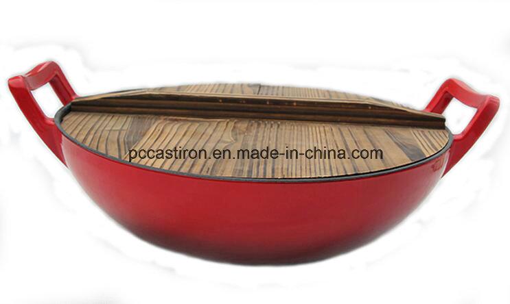 Enamel Cast Iron Wok with Ss Cover Dia 37cm
