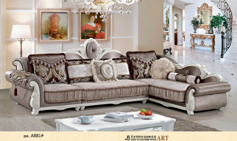 Coffee Color, Rubber Wood Fabric Sofa, French Style Royal Sofa (A881)