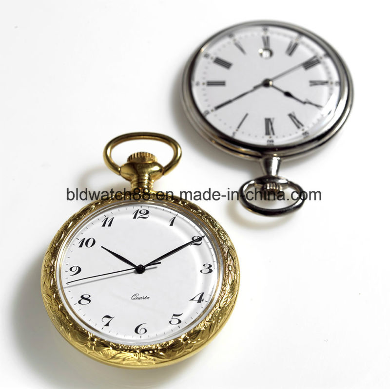 Classic Men's Silver Pocket Watch Stainless Steel