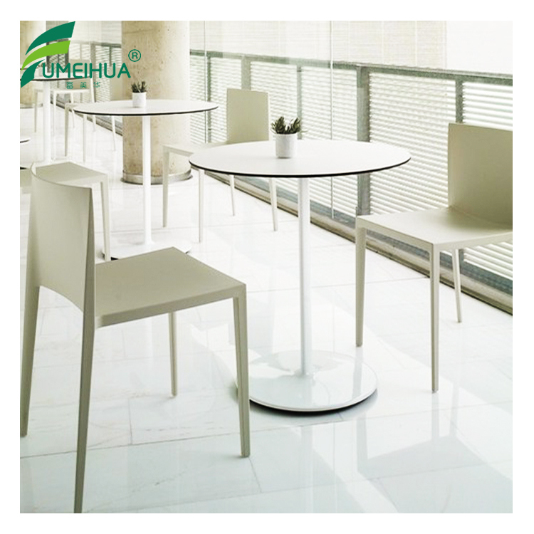 Phenolic Resin Round White Coffee Table with Chair