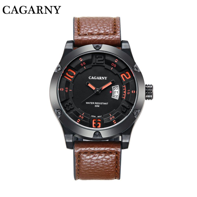 6858 Wristwatch Fashion Bezel with 8screws Big Dial Leather Strap Ss Buckle