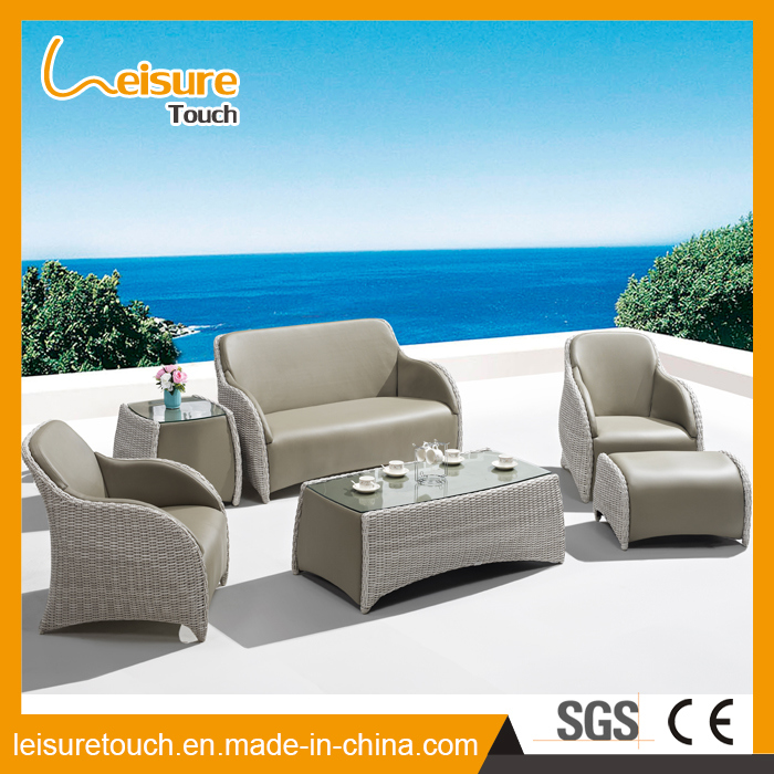 Garden Leisure Home Rattan Sofa Set Modern Table and Chair with Foot Stool Wicker Outdoor Set Patio Lounge Hotel Furniture