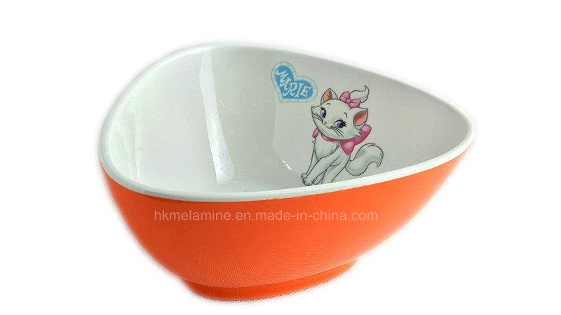 Two Tone Melamine Triangle Salad Bowl with Logo