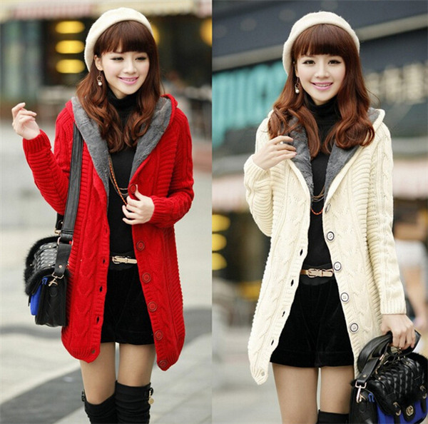 Latest Winter Warmer Knitted Women's Coat with Hood