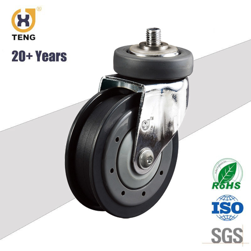 4 Inch PU Shopping Cart Trolley Elevator Escalator Caster Wheel with Two Discs