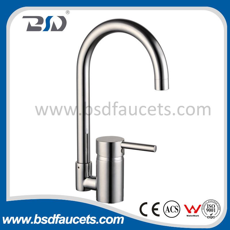Deck Mount Chrome Brass Single Handle Spring Kitchen Sink Faucet