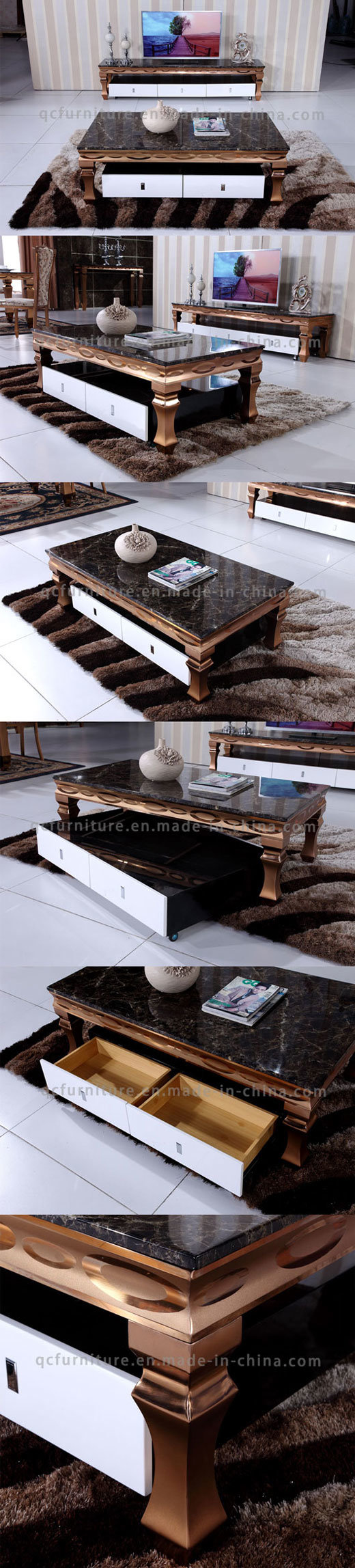 Luxury Gold Color Coffee Table Modern with Marble Top