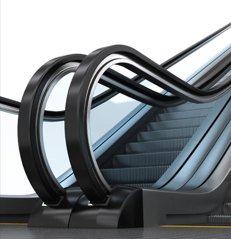 Indoor Commercial Escalator Lift with Etched Stainless Steel Landing Plate
