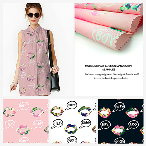 Sweet-Mouth Design Printed Polyester Garment Fabric
