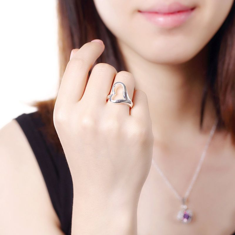Heart Shape Women Rings Simple Design Heart Silver Ring Jewelry
