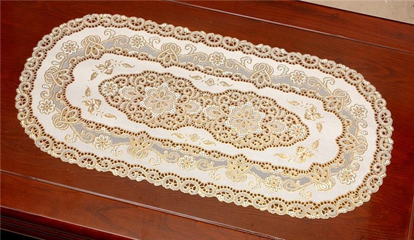 PVC Vinyl Lace Gold Placemat /Placemat with Gold Lace