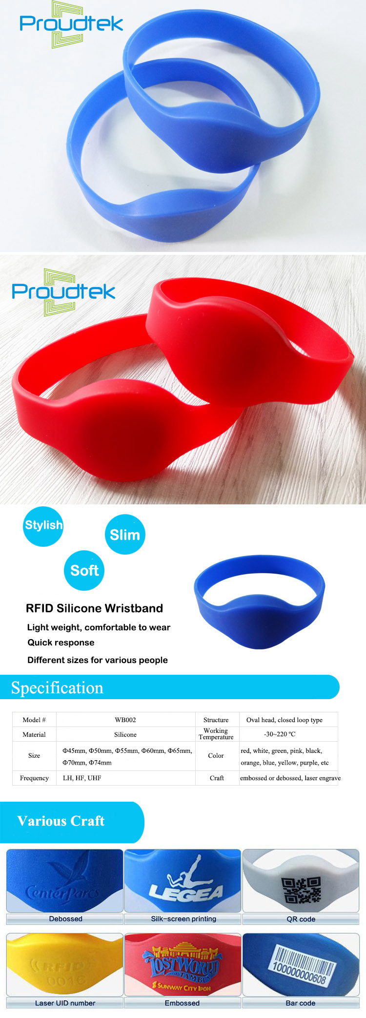 RFID PVC Hitag Chip Silicone Wristband for Access Management/Concert Festival