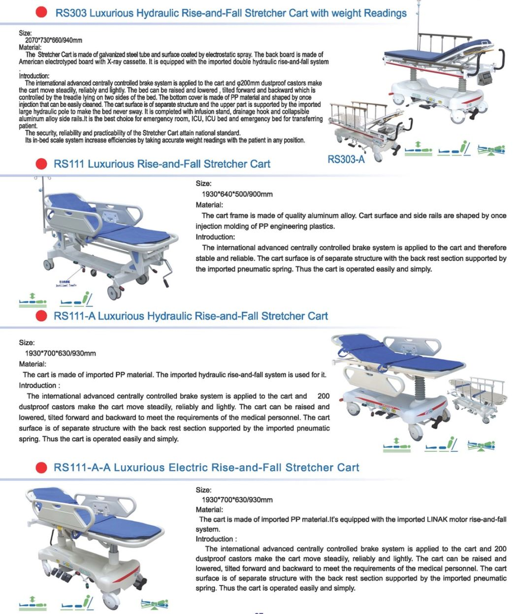Hospital Hydraulic Rise-and-Fall Patient Stretcher Cart