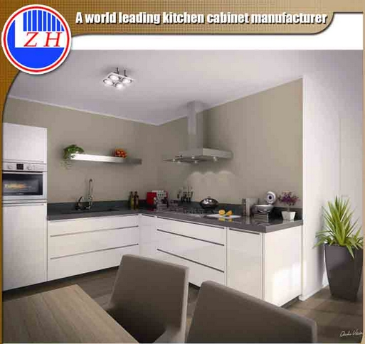 Modern High Glossy White Lacquer Flat Pack Fiber Kitchen Furniture with Countertop Stone