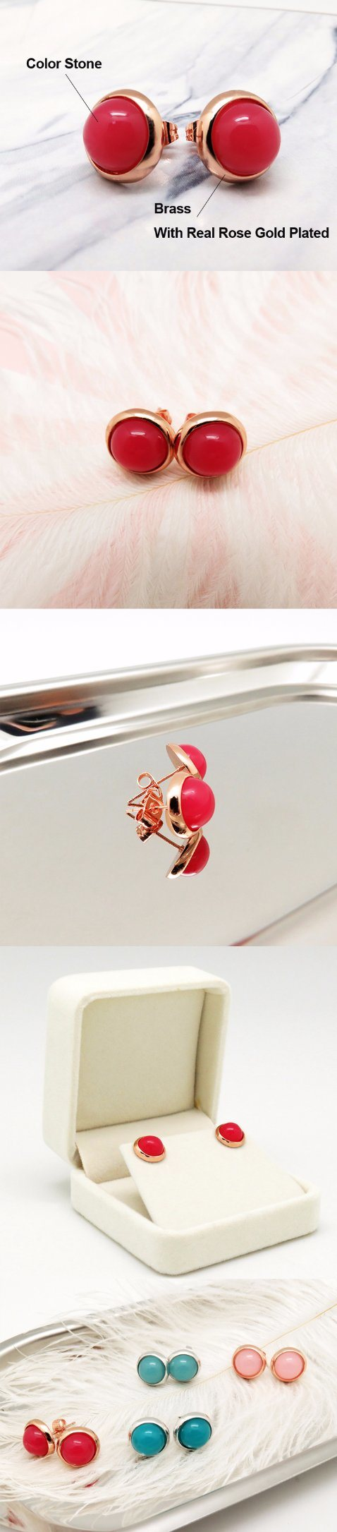 New Designs Rose Gold Plated Single Stone Earring Stud