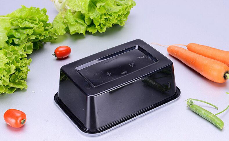 650ml Microwaveable Rectangular Disposable Plastic Food Container with Lid