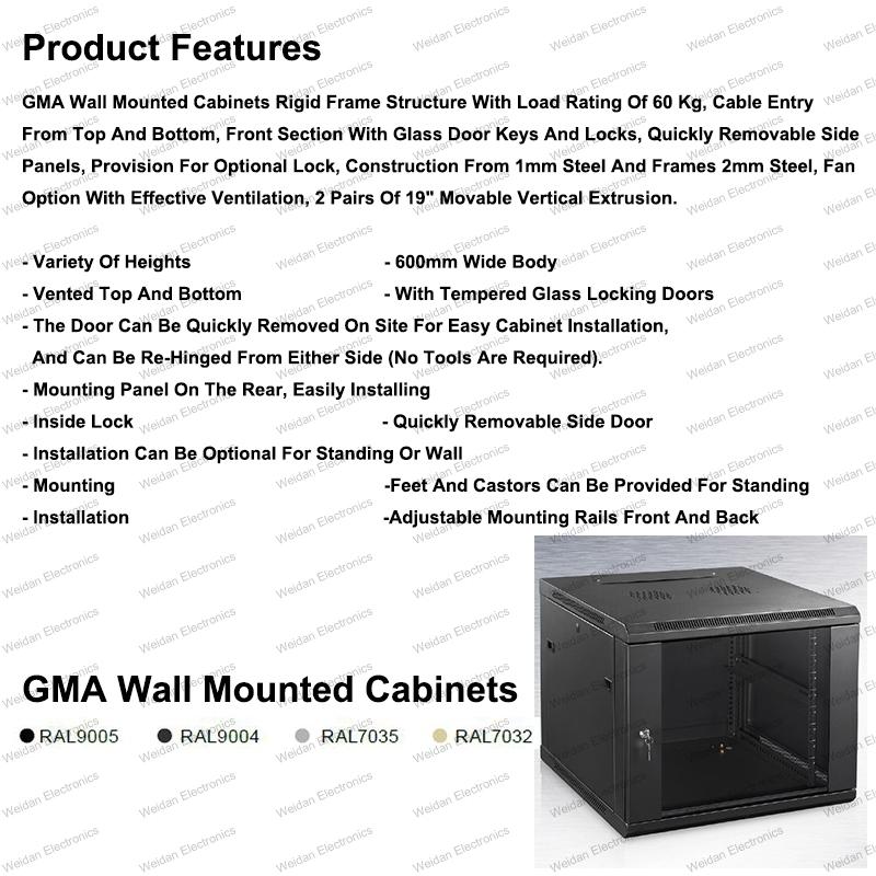 Gma 6u-15u Metal Rack Enclosure Telecommunication&Broadcasting Wall Mounted Cabinets