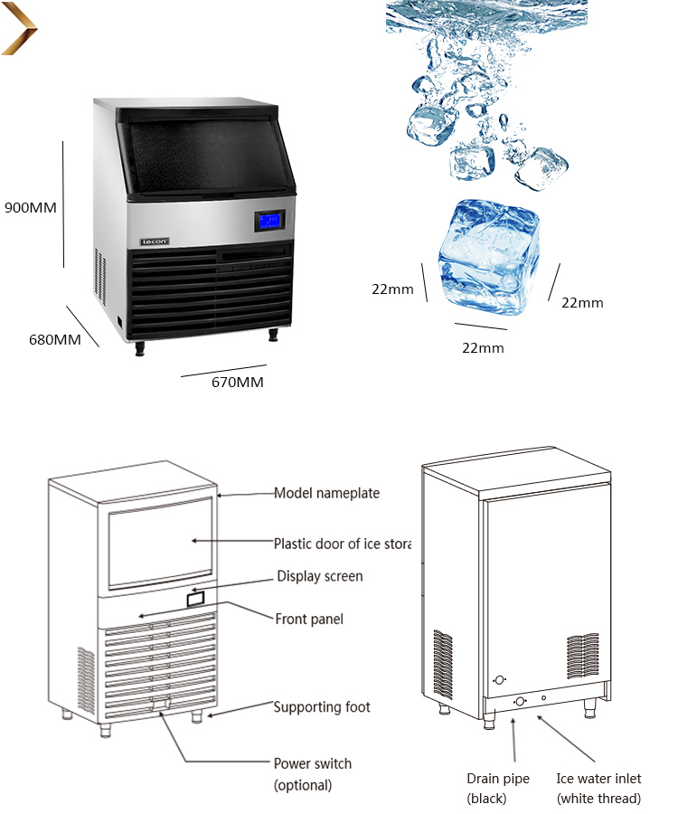 Stainless Steel 304 Shell Cube Ice Machine with Nickel Plated Copper Evaporator