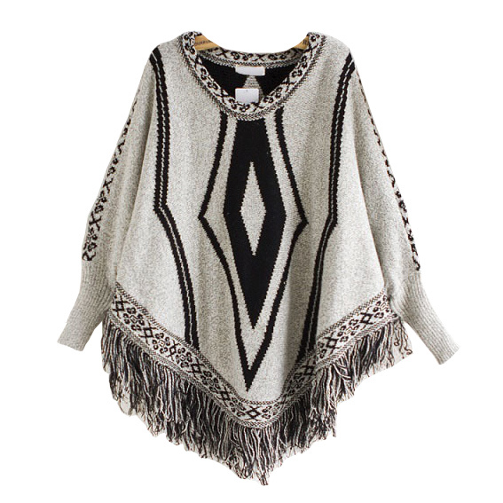Womens Cardigan Wraps Winter Knitted Cable Fringes Shawls Poncho Sweater (SP614)