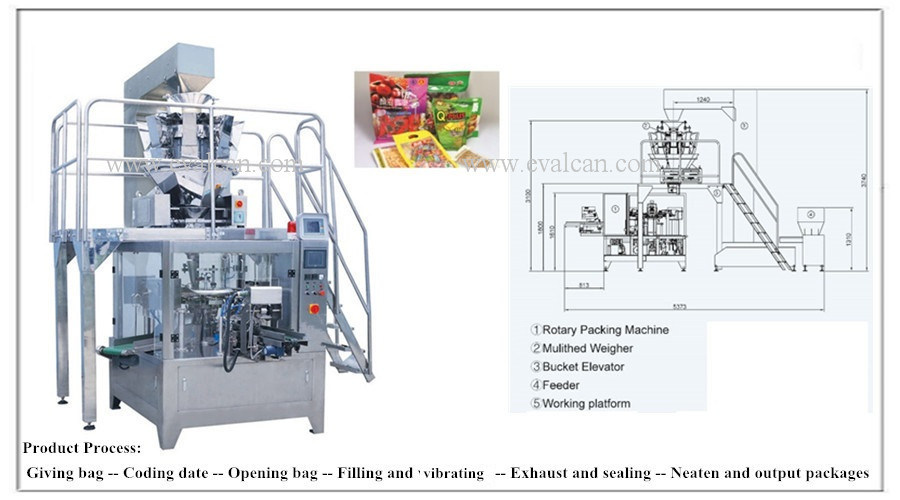 Automatic Grain Rotary Packing Machine with Multihead Weigher