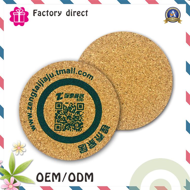 Wooden Custom Printed Logo Cup Pad Cork Coaster