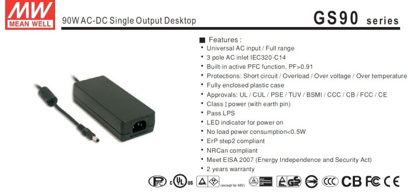 Mean Well 90W AC-DC Desktop Power Supply