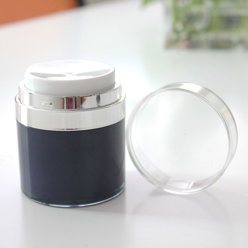 Wholesale 15g 30g 50g Airless Acrylic Cream Jar Black Jar for Cosmetic Packaging