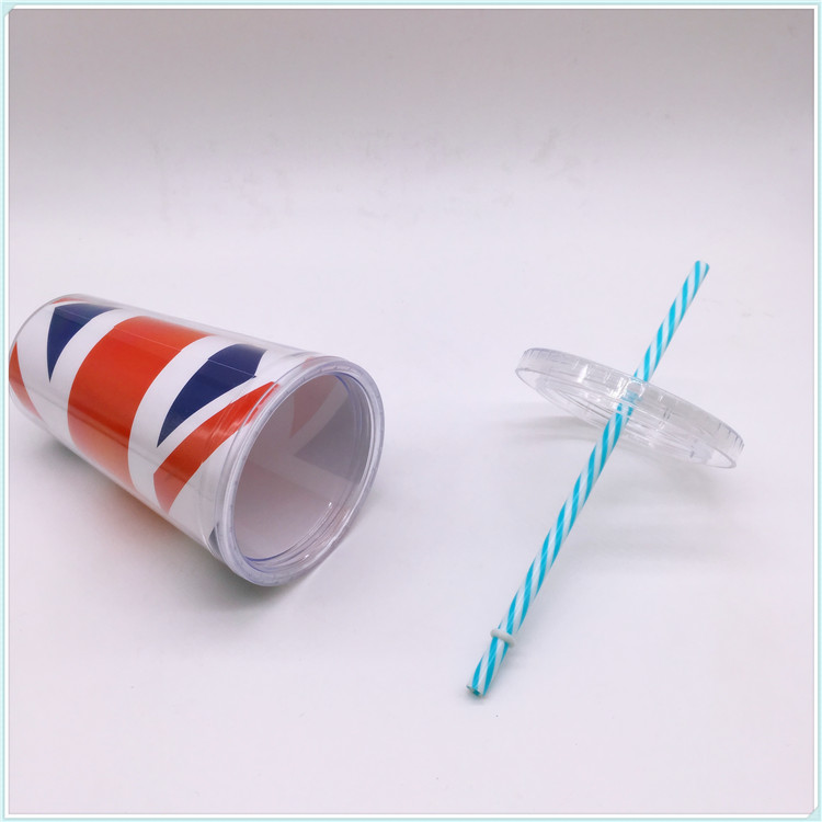 Professional Single Wall Plastic Advertising Mugs with Straw (SH-PM14)