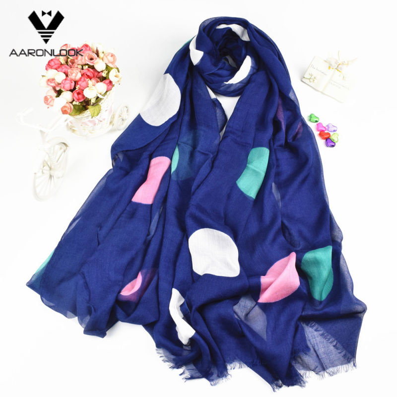 Lady Fashion Wholesale Multicolor Big DOT Printed Long Modal Scarf