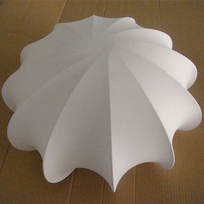 European Hotel Decorative White Fabric Umbrella Type Ceiling Lamp