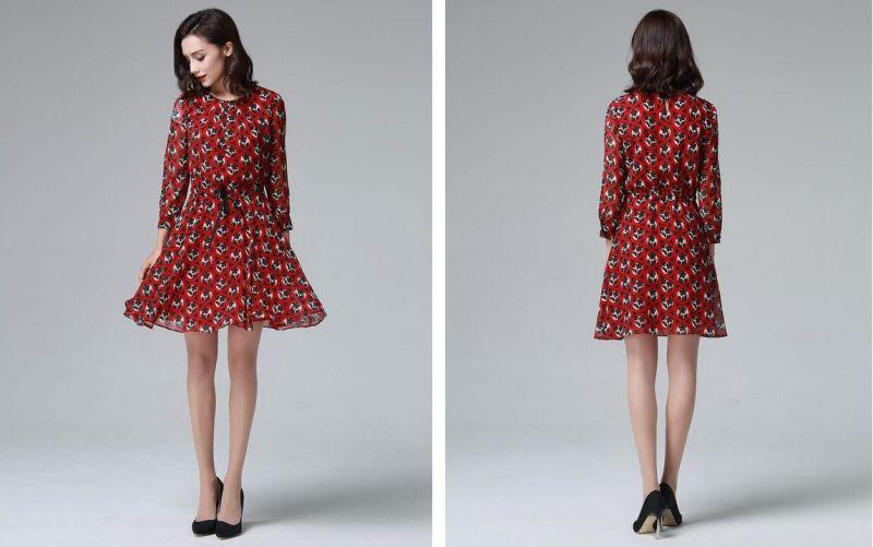 Summer Red Round Flower Print Long Sleeve Women's Dress