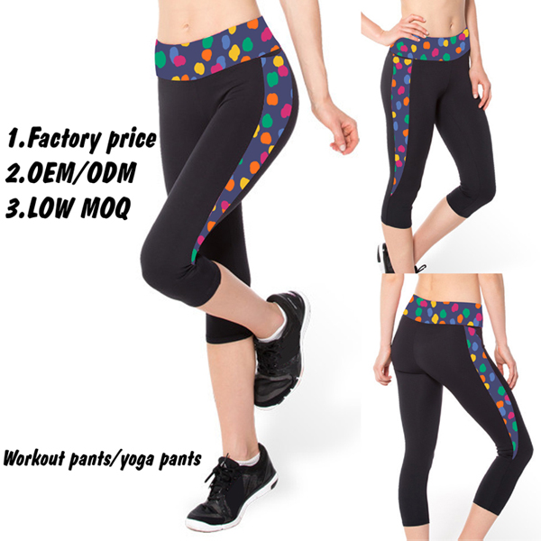 Dri Fit Printed Capris for Women, Wholesale Fitness Clothing, Workout Clothing