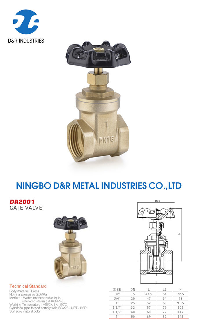 Control Water Brass Gate Valve Pn16 with Wheel Handle, Gate Valve