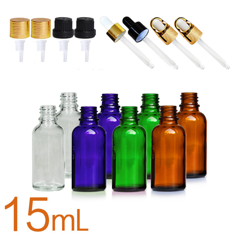 15ml Amber Clear Blue Green Essential Oil Bottles Glass with Long Dropper Refillable Bottle Portable Essential Oil Jars with Pipette Container