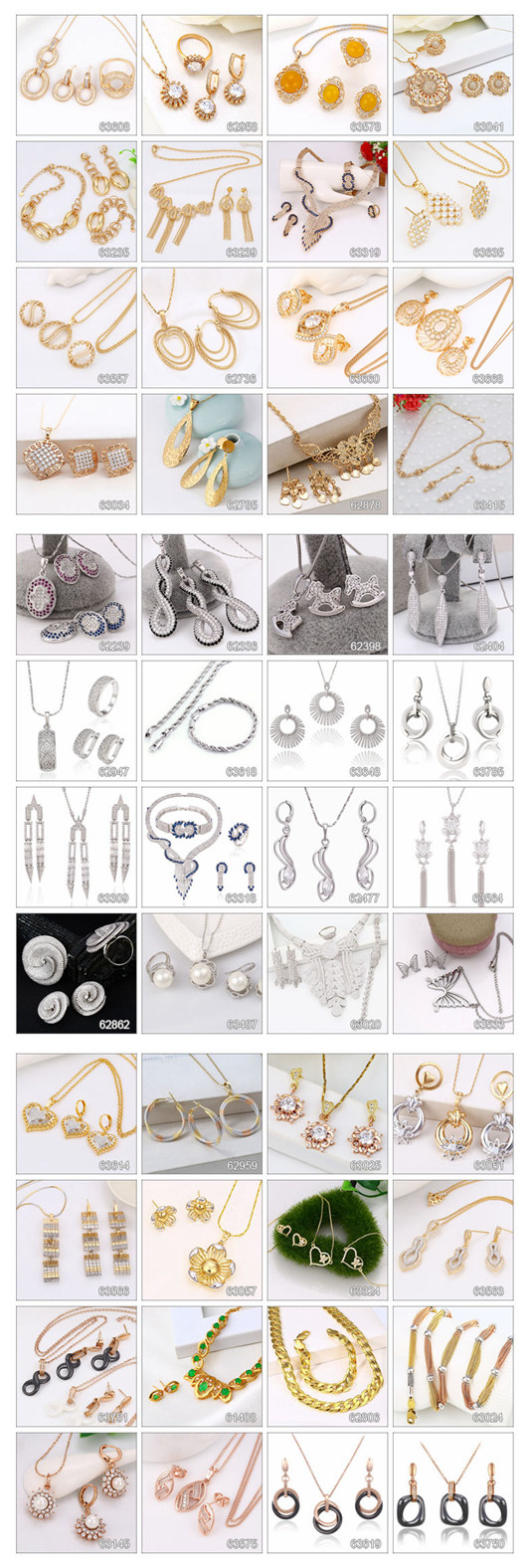 63961 Fashion Elegant Pearls Jewelry Set in Rhodium Color