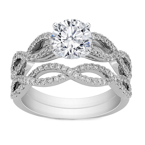 Engagement Ring Infinity Bridal Set in 925 Sterling Silver Jewelry