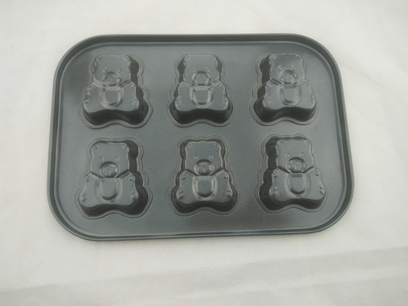 6 Cup Little Bear Shape Non Stick Cake Pan Carbon Steel Bakeware