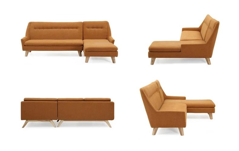 Comfortable Living Room Fabric Wood Sofa with Stool