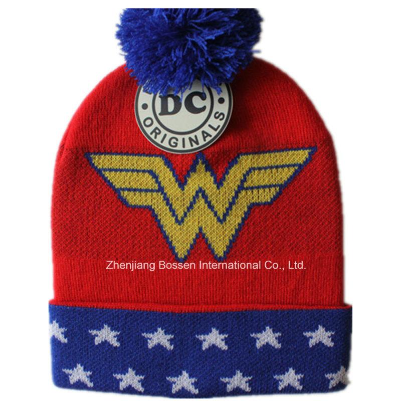 Custom Made Logo Men's Black Sports Winter Acrylic Knit Jacquard Beanie Cap