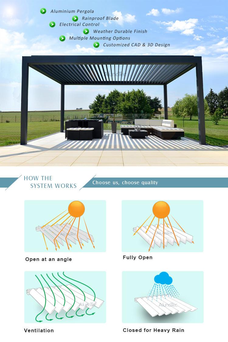 Automatic Garden Waterproof Metal Louver Gazebo Tent