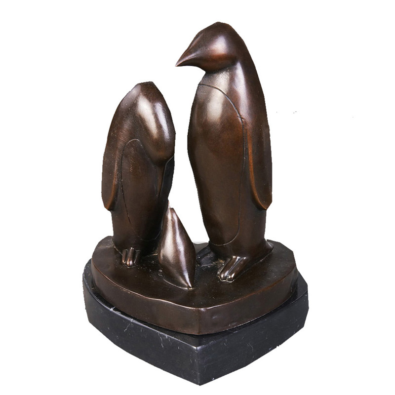 Animal Bronze Sculpture Bird Penguin Decoration Brass Statue Tpy-198