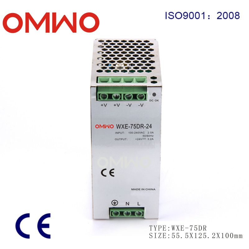 LED Single Output DIN Rail Power Supply Wxe-75dr-48