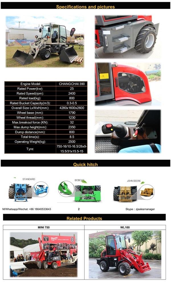 New Zl08 Radlader, Hoflader, Mini Loader with Automatic Transmission