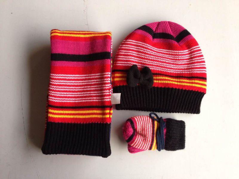 Wholesale Jacquard Knitting Pattern Scarf Hat and Glove Set