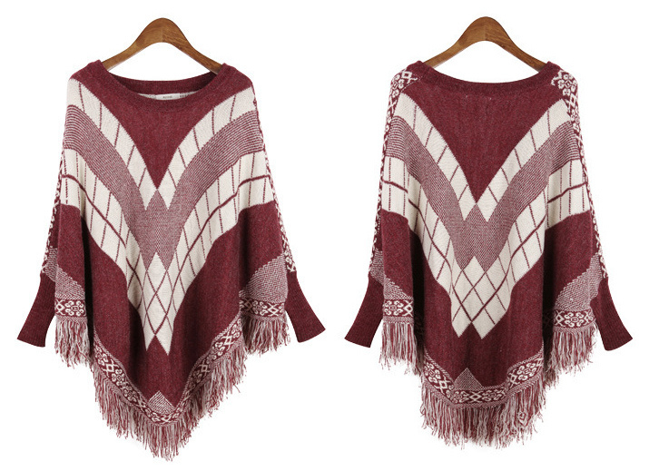 Womens Cardigan Wraps Winter Knitted Cable Fringes Shawls Poncho Sweater (SP613)