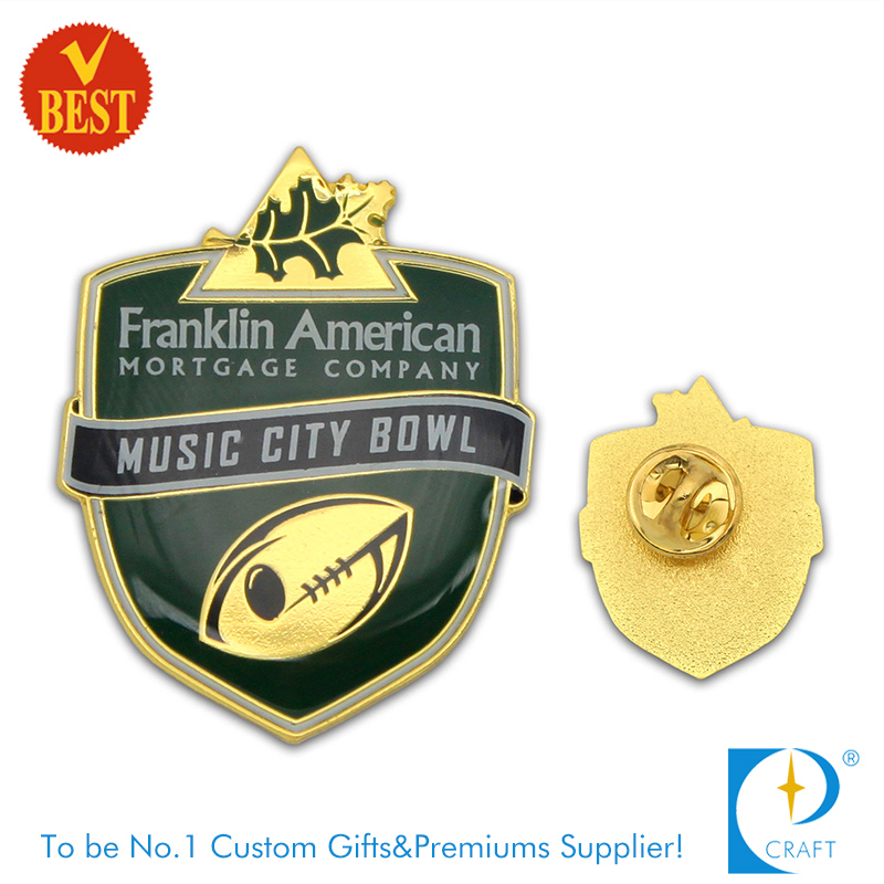 City Bowl Pin Badge with Gold Plating From China