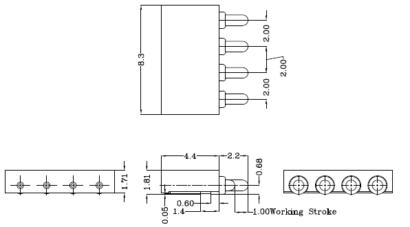 4pin Right Angle Spring Loaded Pogo Pin Connector