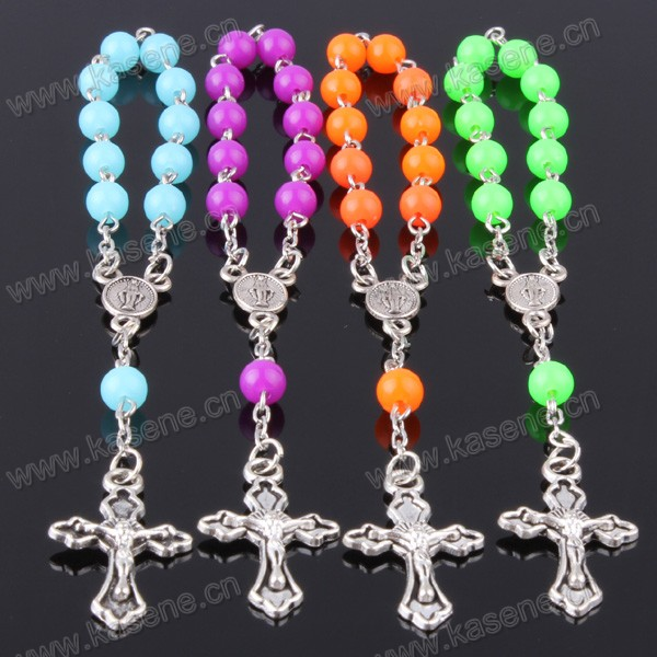 Hot Selling Fashionable Catholic Crystal Rosary Bracelet with Cross
