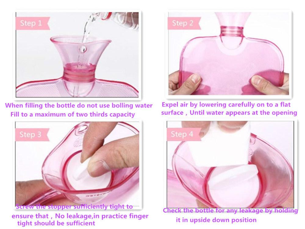 Color Heart-Shape New Design Popular PVC Hot Water Bag